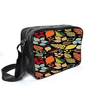 Snoogg Colorful Blätter schwarz Leder Unisex Messenger Bag für College Schule täglichen Gebrauch Tasche Material PU
