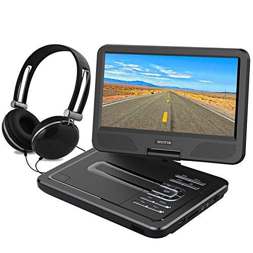 WONNIE 10.5' Tragbarer DVD-Player, Schwenkbaren Bildschirm, HD Display 4-5 Stunden Akku, USB/SD Slot Mit Kopfhörer, Perfekte Geschenke für Kinder (Schwarz)