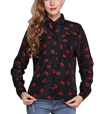 Fortuning's JDS Chemises Top de base en rouge à lèvres Rouge Imprimer Collier en mousseline de soie à manches longues Chemisier point pour dames, équipée S-XL Taille,