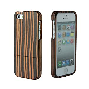 SunSmart (TM) Unique Handmade Natural Wood Wooden Hard bamboo Case Cover for iPhone 5 with free screen protector(Ebony stripe)