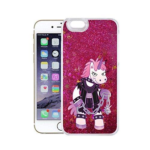 finoo   iPhone 6 / 6S Flüssige Liquid Pinke Glitzer Bling Bling Handy-Hülle   Rundum Silikon Schutz-hülle + Muster   Weicher TPU Bumper Case Cover   Einhorn Katze Einhorn Domina