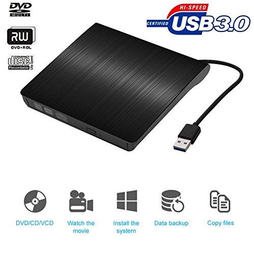 Externes DVD Laufwerk Brenner, Vkaiy Portable USB 3.0 DVD/CD Brenner Player Slim unterstützt Windows Vista/XP/Win 7/8/10/Mac für Laptops, Desktops und Notebooks (Schwarz)