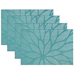 SiCoHome Placemats Dining Room Placemats for Table Heat Insulation Stain-resistant Woven Vinyl Kitchen Placemats,Set of 4 (Lotus Leaf Blue)