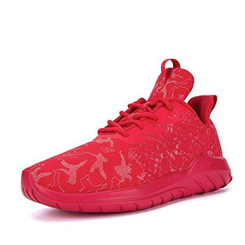 Soulsfeng Sneakers Zapatos Deportivos para Mujer Zapatos con Cordones Correas Amortiguación Malla transpirable Tela Zapatos Planos Negros y Rojos(blanco 45EU) xHQf0vA