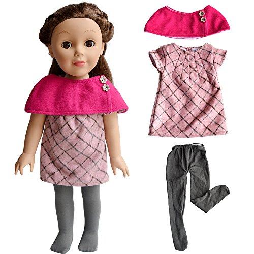 Qinsuee Puppen Kleidung Kleider Puppen Outfit für 18 Zoll Puppen(Stieg rot) (Für Puppen Zoll Hochzeit Kleid 18)