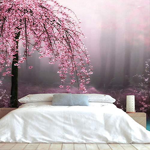 QBTE Papier wandmalerei 5d natürliche rote pfirsich Blume wandbild 3D Sofa Hintergrund Bett Zimmer 3D wandbild tapete Foto 3D wandbild-200 * 140 cm -