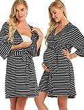 Lucyme Damen Stillpyjama Schwangerschaft Frauen Umstandspyjama Kurz mit Band Gestreifte Pyjama Nachtwäsche Schlafanzüge Baumwolle, schwarz-weiß  - EU 38(Herstellergröße: M)