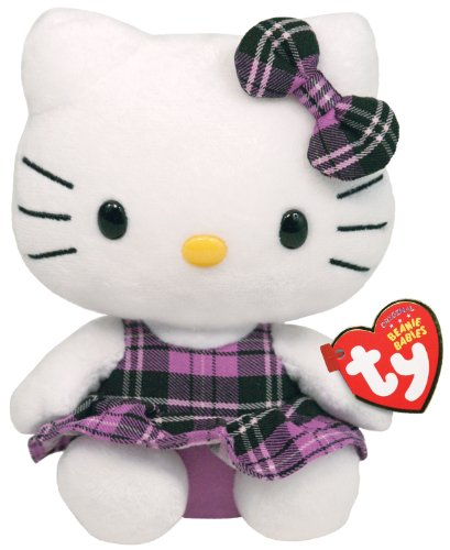 Hello Kitty - Purple Plaid Plush - TY Beanie -  14cm 6""