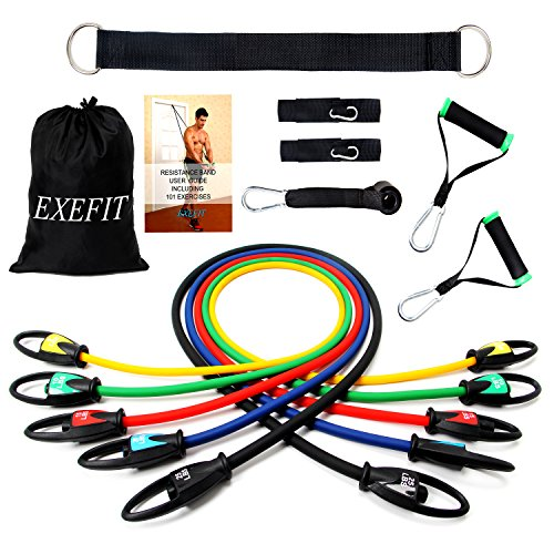 Fitodo set di esercizio di resistenza fitness cinghie fasce elastiche—5 bande elastici lattice/maniglie / gancio per fissaggio alla porta/cinghie puntapiedi e borsa per fitness,yoga,pilates