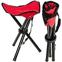 Vikenner Folding Tripod stool Portable Lightweight Slacker Chair For Camping Fishing Hiking Travel - Red