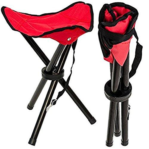 Silla con tres patas plegable y portátil de Vikenner, es una silla ligera de peso, ideal para llevar de viaje; para acampar, pescar, hacer senderismo, etc. de color rojo , rojo, 22*22*31cm
