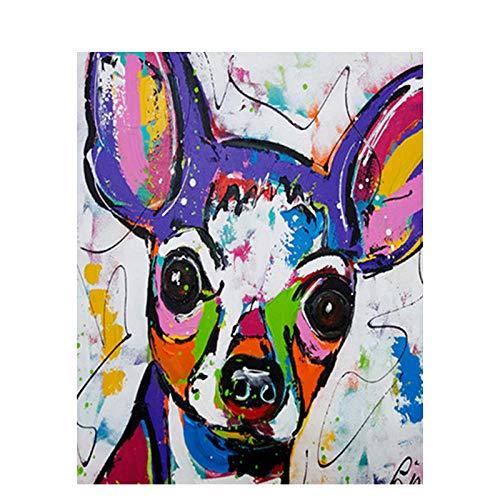 ARTEZXX Malen nach Zahlen Kits Für Anfänger Erwachsene Kinder - Graffiti-Hund DIY Ölgemälde Vorabdruck Leinwand Kunst Geschenk Home Haus Dekor - Ohne Rahmen 16X20 inch -