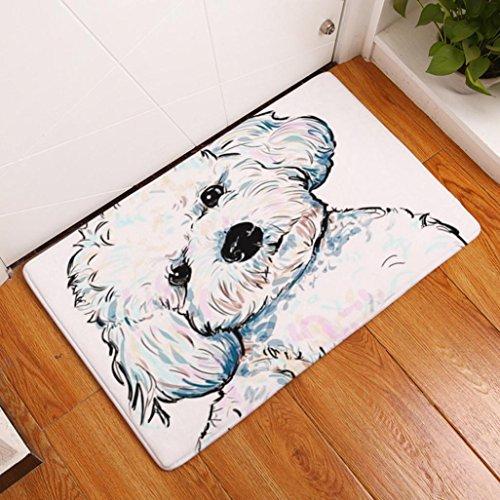 Artistic9 Fußmatte, Anti-Rutsch, mit Hunde-Motiv, für Flur, Badezimmer, Innen- und Außenbereich, 40x 60cm, Flanell, F, 40 x 60 cm