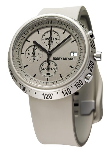 Issey Miyake Trapazoid Unisex Quartz Watch with Grey Dial Chronograph Display and Grey PU Strap SILAZ005