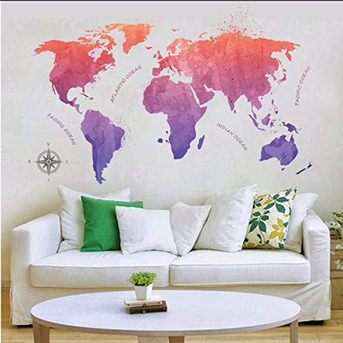 Ink Painting Style World Map Wall Stickers for Kids Rooms Home Decor Tv Sofa Wall Decals Art Mural Poster 3D ()