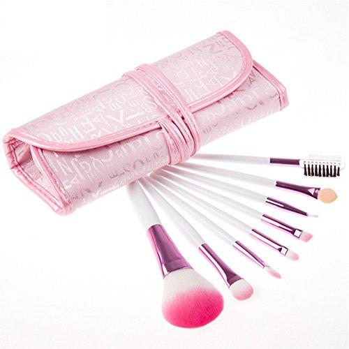 8 Pinceau De Maquillage Rose Poudre PU Sac Lettre Maquillage Outil Set,Pink