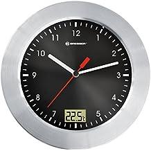Bresser MyTime - Reloj de pared analógico para cuarto de baño con indicador de temperatura, color negro (importado)