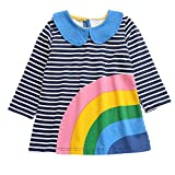 Webla Baby Mädchen Langarm Streifen Prinzessin Kleid Kinder Regenbogen Print Rock (12 Monate-4 Jahre) (12-18 Monate, Blau)