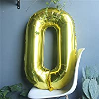 the GreatTony Number Foil Balloon Giant Self Inflating Balloons for Party Decorations,Gold Color Number 0 Zero, 34""