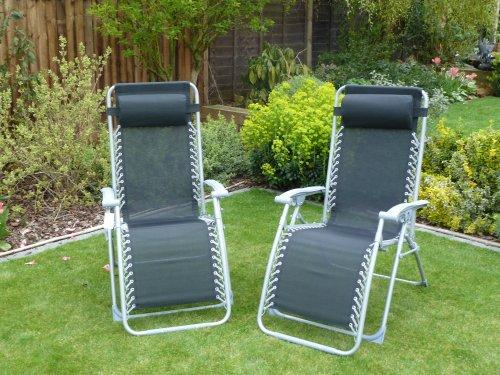 Set de 2 Chaises de jardin / Relax / Transat Multi Position avec appui-tête - Imperméable Textoline inclinable