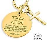 Taufkette mit Kreuz und Gravur Gold Junge Psalm Schmuck Taufe Kreuz Anhänger ❤️ Goldschmuck mit Namen Taufe ❤️ Taufschmuck vergoldet Spruch ❤️ Taufe Geschenkidee | HANDMADE IN GERMANY