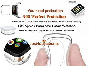 2015 New Improved38mm Apple watch crystal clear Watch Case CLARITY fits 38mm only Includes A free water proof apple watch storage container