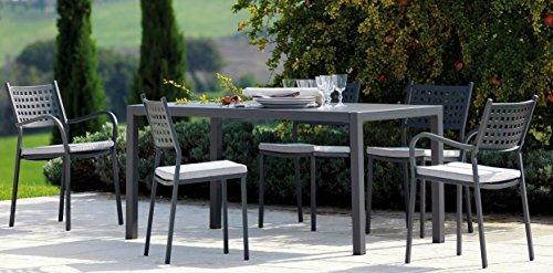 Tisch Garten Außen QUATRIS 160x 80cm Eisen Antik + 6Sessel Alice vermobil Made in Italy