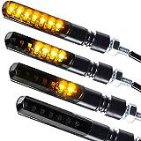 Mini indicatori di direzione a LED sequenziali per motocicletta, di colore nero, confezione da 2
