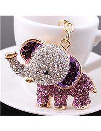 NUOLUX Cute Elephant Style Rhinestone Decorated Key Ring Keychain (Purple)