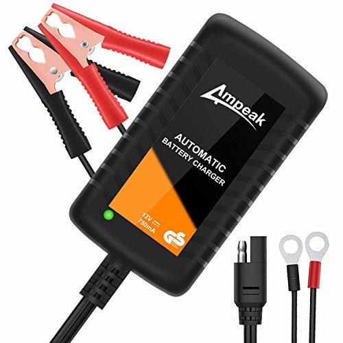 Ampeak 0.75A Cargador Baterias Coche 12V Mantenimiento Automático Baterías de Plomo-ácido AGM/Gel para Automóviles, Motocicletas