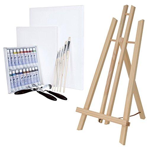 ARTINA® Set pittorico da 29 unità con cavalletto da tavolo London, 18 colori a olio, 2 tele, 5 pennelli, 3 spatoline