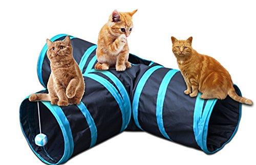 Orchidtent Katzentunnel - 3-Wege Faltbarer Katze Hundenspielzeu / Katzenspielzeug / Spielzeug / Spiel Tunnel mit Wackelig Ball für katzen Hunde Kaninchen und Welpen