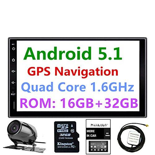 Panlelo® PA09YZ32, in dash 2DIN 17,8cm Full HD touch screen autoradio Android 5.1navigazione GPS Car stereo Quad Core 16GB + 32GB  GB Bluetooth AM/FM/RDS radio WiFi telecamera