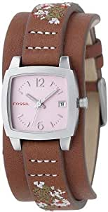 Fossil Ladies Trend, SS Case, Brown Leather strap with Embroidery, Pink Dial JR9858
