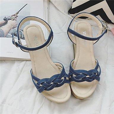 LvYuan Da donna Sandali Lino Estate Footing Più materiali Heel di blocco Bianco Nero Beige Blu Schermo a colori 7,5 - 9,5 cm Blue