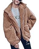 Shallgood Damen Mantel Plüschjacke Winter Winterjacke Steppjacke Warmen Outwear Reißverschluss Lange Ärmel Einfarbig Sexy Parka Kamel DE 46