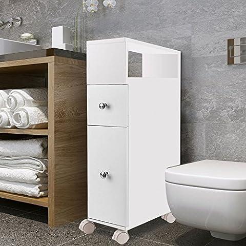IDMarket - Meuble rangement WC sur roulettes 2 tiroirs