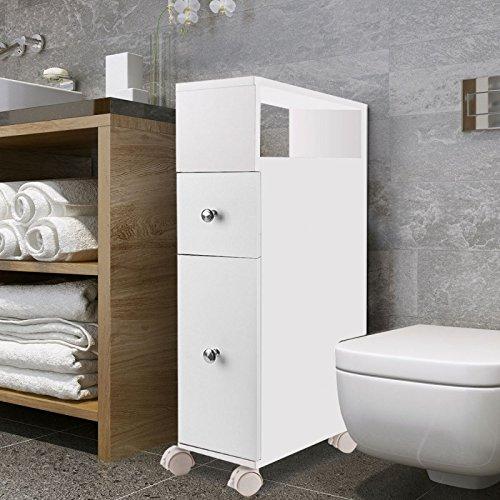 IDMarket - Meuble rangement WC sur roulettes 2 tiroirs blanc