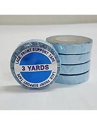 Showjarlly 1 rouleau de ruban adhésif double face Super Bleu Lace Front support Bande 0,7 x 2,7 m ruban Adhensive Fort pour postiches et perruques et Extensions de cheveux humains