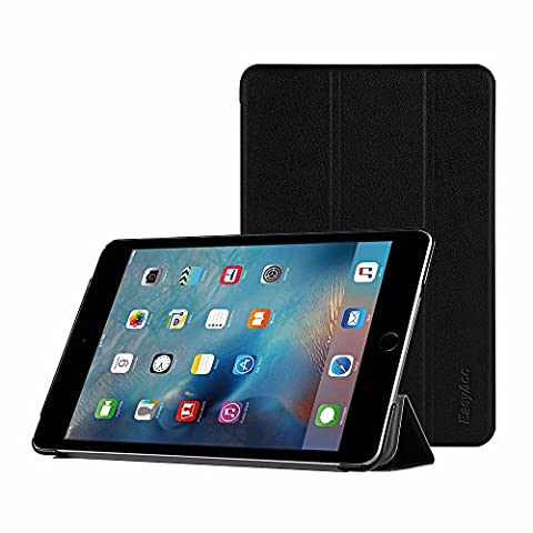 EasyAcc Ultra Slim Apple ipad mini 4 Hülle Ledertasche Flip Case Smart Cover mit Standfunktion / Auto Sleep Wake up und Standfunktion für iPad mini 4 2015 - Schwarz, (Apple Tablet Ipad Mini)