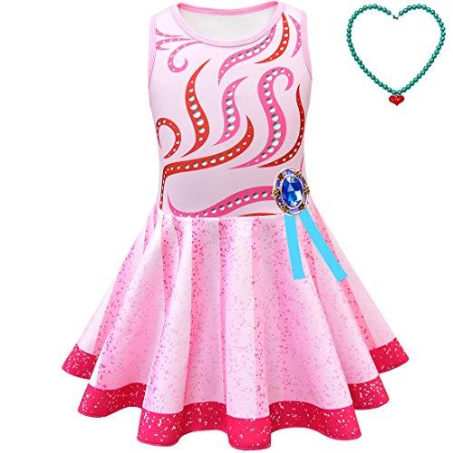 QYS Mädchen Phantasie Nancy Kostüm Cosplay Kleider Halloween Rainbow Dress Up Kleidung mit Zubehör,Necklace+Dress,110cm