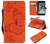 Misteem Coque Galaxy A3 2017 Papillon Fleur, 3D Créatif Motif [Orange Jaune] Papillon Fleur Etui Portefeuille Cuir Housse Couverture de Protection pour Samsung Galaxy A3 2017