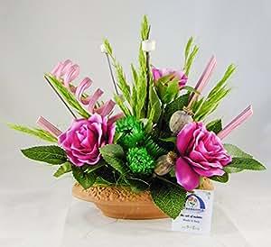 38° Parallelo Creations - Composizione floreale profumata realizzata su ciotola ovale di terracotta decorata - Idea regalo Made in Italy - CLS0200102 DIADEMA