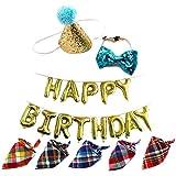 Aisamco - Conjunto de Gorro y Collar con Lazo para Fiesta de cumpleaños con Diadema Ajustable y Pompones, Globos de Feliz cumpleaños, 5 Unidades de pañuelos para Perros, Gatos, Mascotas