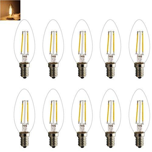 Retro E14 LED Lampe Kerzenform Filament E14 Classic Glühfaden 2W 15 Watt-Ersatz, LED Kerzen Lampe Warmweiß 2700K-3000K,180LM (10X E14 Filament LED Warmweiß)