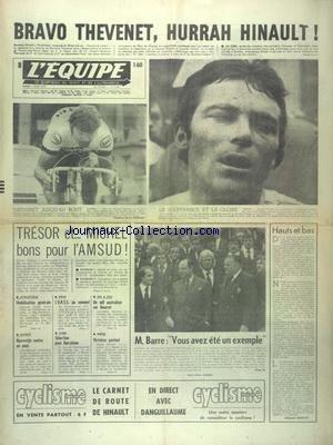 EQUIPE (L') [No 9661] du 07/06/1977 - BRAVO THEVENET - HURRAH HINAULT - TRESOR ET MICHEL BONS POUR L'AMSUD - ATHLETISME - MOBILISATION GENERALE - BASKET - HARREWIJN RENTRE AU PAYS - JUDO - SELECTION POUR BARCELONE - BOXE - L'URSS AU SOMMET par Collectif