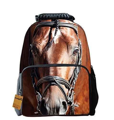 Fantec Filz Stoff Schule Rucksack 3D Tier Print Cute Laptop Wandern Daypacks 40,6cm pferd