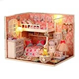 #3: Saffire Wood Dollhouse Miniature DIY Kit Dolls House Room with Cover and LED 3d Wood Toy Angel Dream
