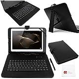 "DURAGADGET Funda / Teclado ESPAÑOL Negro 10.1 "" Para Tablet Huawei MediaPad M2 10 - Conexión MicroUSB + Lápiz Stylus"