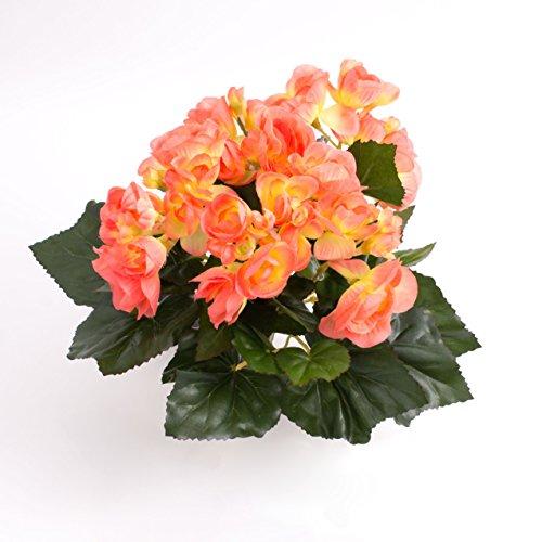 artplants - Künstliche Mini - Begonie Ivana, 27 Blätter, 9 Blüten, lachs, 20 cm, Ø 20 cm - Deko Schiefblatt Pflanze/Kunstpflanzen